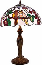 Tiffany Lamp Birds Colorful Stained Glass Bedside
