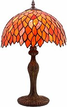 Tiffany Lamp Table Stained Glass Bedside Lamp Red