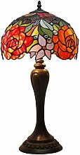 Tiffany Lamp Table Stained Glass Lamp Red Rose