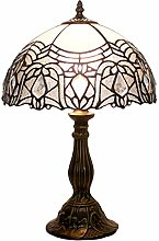 Tiffany Lamp Table White Stained Glass Bedside