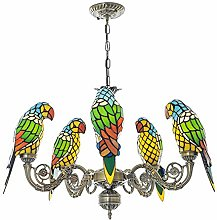 Tiffany Style Stained Glass Parrot Chandelier Warm
