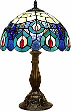 Tiffany Table Lamp Blue Stained Glass Bedside Lamp