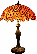 Tiffany Table Lamp Red Wisteria Stained Glass