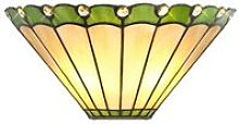 Tiffany Wall Lamp, 2 x E14, Green, Crystal -