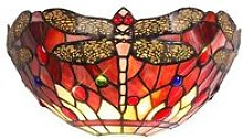 Tiffany Wall Lamp, 2 x E14, Purple, Pink, Crystal