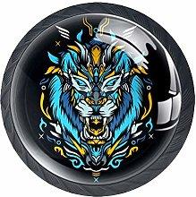 Tiger Artwork 4 Pack Round Glass Drawer Knobs