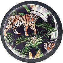 Tiger Jungle Animal and Tropical Leaves Cabinet