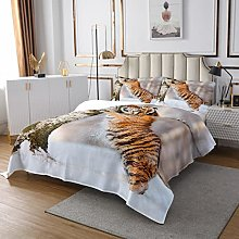Tiger Quilted Coverlet Wild Animal Quilted