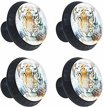 Tiger Watercolor Painting 4 Packs Kitchen Cabinet