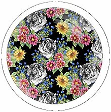 Tiger with Multicolored Flowers 4 Pack Round Glass