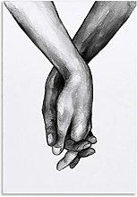 Tiiiytu Black And White Hand Painting Canvas Art
