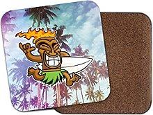 Tiki Surf Hawaii Aloha Cork Backed Drinks Coaster