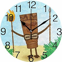 Tiki with Legs Round Wall Clock, Silent