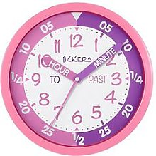 Tikkers Time Teacher Wall Clock, Pink/Purple