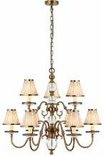 Tilburg chandelier, antique brass 9 lights with