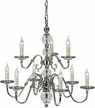 Tilburg chandelier, polished nickel, crystal, 9