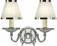 Tilburg wall lamp, polished nickel, 2 white shades