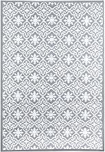 Tile Motif Waterproof Indoor/Outdoor Rug Grey Mat