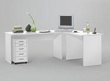 Till Wooden Corner Computer Desk In White
