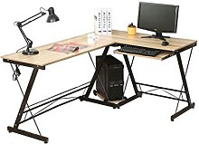 Timberlion AH L-shape Wood Metal Computer Desk