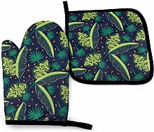Timdle 2 Pieces Oven Gloves And Pot Holder Jungle