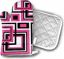 Timdle Oven Mitt And Pot Holder Set Geometric Hot