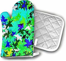 Timdle Oven Mitt And Pot Holder Set Green Leaves