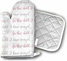 Timdle Oven Mitt and Pot Holder Set Pink and Grey