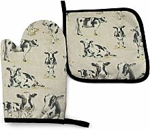 Timdle Oven Mitt & Pot Holders Set,Cow Background