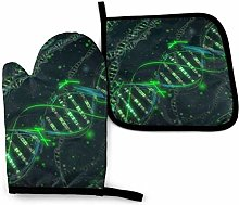 Timdle Oven Mitts and Pot Holders Sets Green DNA