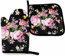 Timdle Pink Rose ge On Nature Rose Oven Mitts And