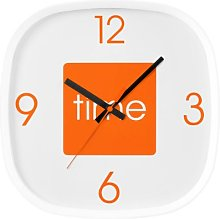 TIME - Wall Clock Orange With White Frame, Hip New