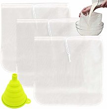 TIMGOU 3 Pack Nut Milk Bag with a Foldable Funnel,