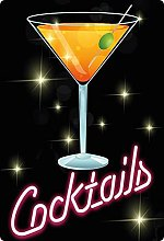 Tin Sign 20 x 30 cm Curved Cocktail Neon Style Bar