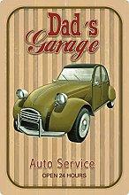 Tin Sign 20 x 30 cm Curved Dad's Garage Car