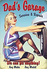 Tin Sign 20 x 30 cm Curved Dad's Garage Sexy