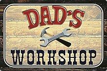 Tin Sign 20 x 30 cm Curved Dad's Workshop Dad