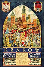 Tin Sign 20 x 30 cm Curved Holiday Poster Krakow