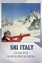 Tin Sign 20 x 30 cm Curved Holiday Ski Italy Italy