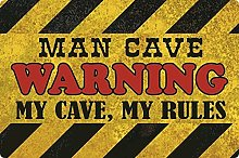 Tin Sign 20 x 30 cm Curved Man Cave Warning Beer