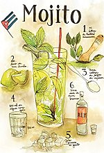 Tin Sign 20 x 30 cm Curved Mojito Cocktail Bar