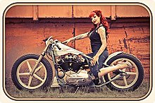 Tin Sign 20 x 30 cm Curved Motorcycle Woman Tattoo