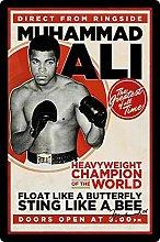 Tin Sign 20 x 30 cm Curved Muhammad Ali Heavy