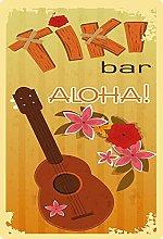Tin Sign 20 x 30 cm Curved The Tiki Bar Aloha