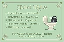 Tin Sign 20 x 30 cm Curved Toilet Rules Toilet