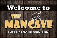 Tin Sign 20 x 30 cm Curved Welcome to The Man Cave