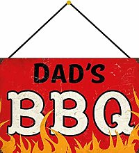Tin Sign 20 x 30 cm Curved with Cord Dads BBQ