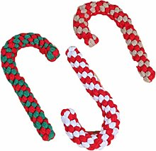 TINGB 7 Pcs Christmas Candy Canes Cotton Rope Dog