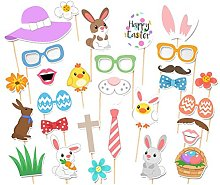 Tinksky 29PCS Easter Photo Booth Props Egg Rabbit