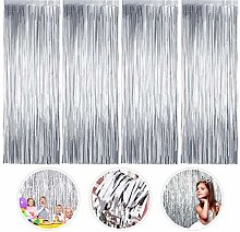 nuoshen 3 PCS Big Metallic Tinsel Curtains Foil Fringe Shimmer Streamers Curtain Door Window Party Streamers for Birthday Wedding Party Supplies 1m x 2m